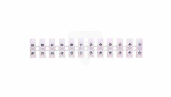 Listwa zaciskowa gwintowa 12-torowa 6mm2 poliamidowa PA66 z podkładką biała LPA12-6 89093110