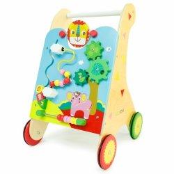Drewniany pchacz edukacyjny wózek,liczydło ECOTOYS