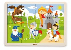 Puzzle na podkładce 16 elementów - Bajkowy zamek Viga