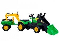 Traktor z przyczepą i łyżką zielony na pedały