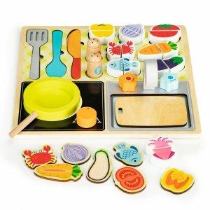 Drewniana kuchnia zestaw kuchenny + akcesoria Ecotoys