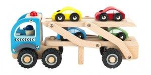 Drewniana ciężarówka laweta 4 resorki auta Ecotoys