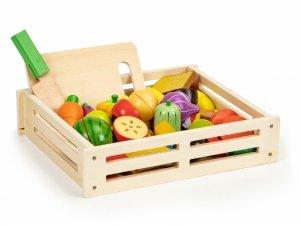 Drewniane warzywa i owoce jedzenie do krojenia 20 szt + skrzynka Ecotoys