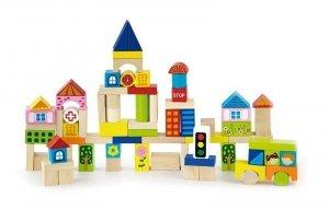Drewniane klocki 75 elementów - miasto Viga