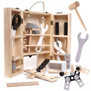 Drewniana skrzynka z narzędziami drewniana warsztat zestaw