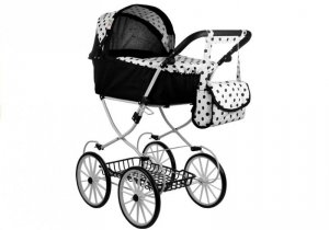 Wózek dla lalek Alice Retro, Duży, Głęboki, Torba