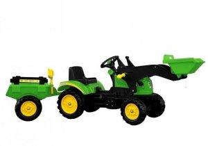 Traktor Herman z przyczepą i łyżką zielony na pedały 165 cm