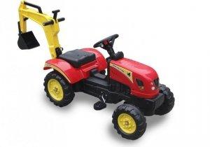 Traktor dla dzieci na pedały z łyżką czerwony