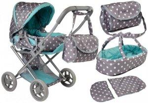 Wózek dla lalek Alice nosidełko+torba Szaro-Turkusowy