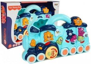 Interaktywna Zabawka dla dzieci Lokomotywa Odgłosy Zwierząt Dźwięk Niebieska