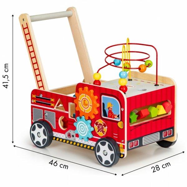 Drewniany pchacz edukacyjny z klockami dla dzieci - Straż Pożarna Ecotoys