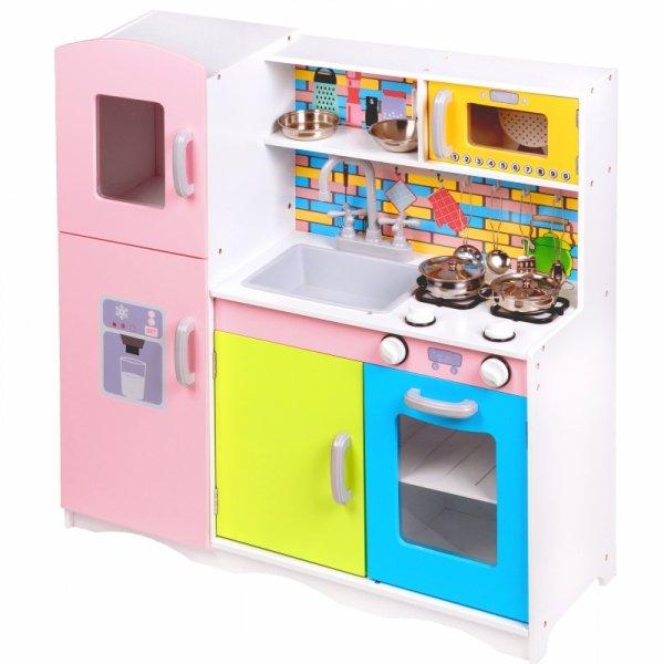 Drewniana kuchnia kolorowa z wyposażeniem Ecotoys