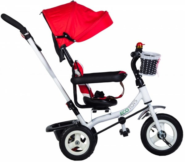 Rower trójkołowy wózek jeździk obracany Czerwono-Biały Ecotoys