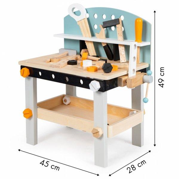 Drewniany warsztat z narzędziami 32 elementy