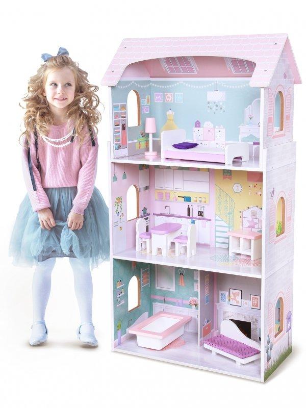 Drewniany domek dla lalek rezydencja Jagodowa Ecotoys