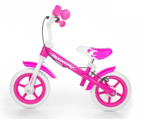 Rowerek biegowy Dragon z hamulcem pink Milly Mally