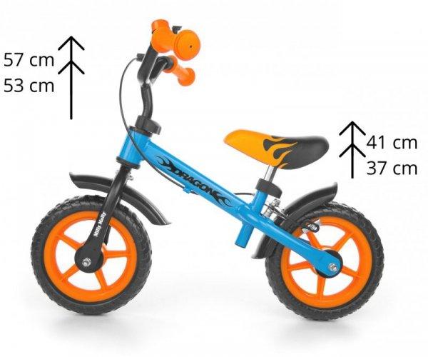 Rowerek biegowy Dragon z hamulcem blue-orange Milly Mally