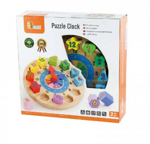Drewniany edukacyjny zegar - sorter kształtów Viga