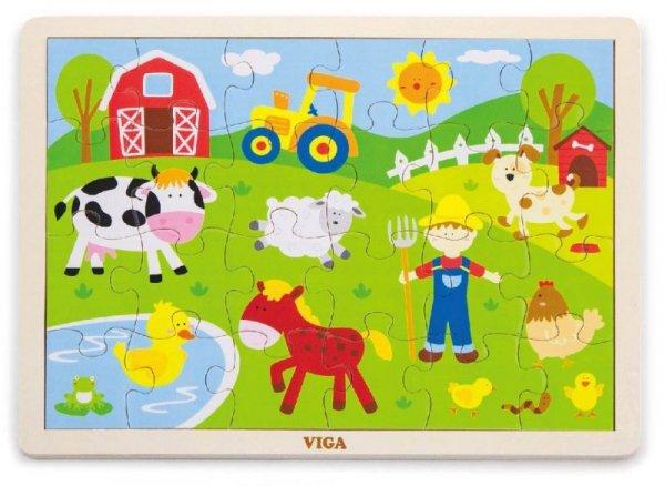 Puzzle na podkładce 24 elementy - farma Viga