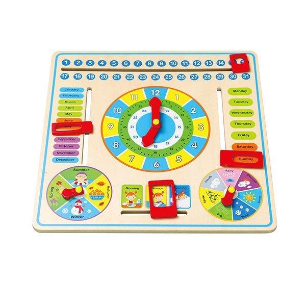 Drewniana tablica manipulacyjna kalendarz z zegarem Viga