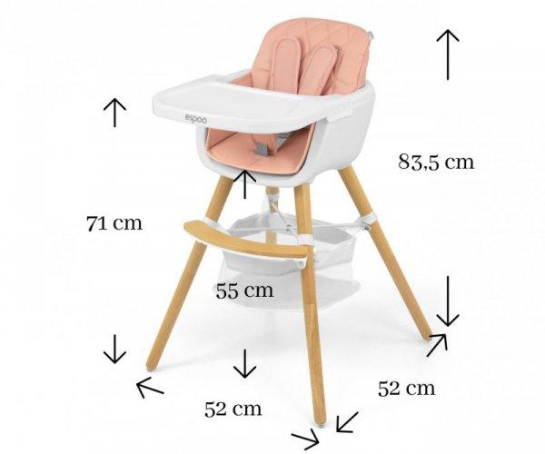 Krzesełko do karmienia 2w1 Espoo Pink Milly Mally