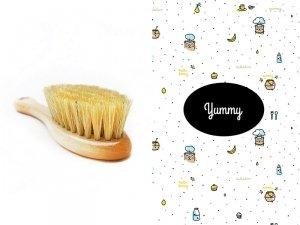 LullaLove, Szczotka z naturalnego włosia w zestawie z muślinową myjką, Kucharz