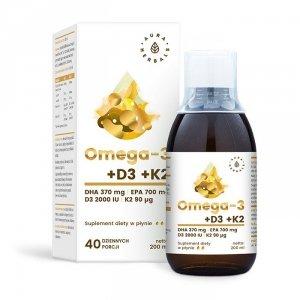 AURA HERBALS Omega-3 + D3 + K2 w płynie 200ml
