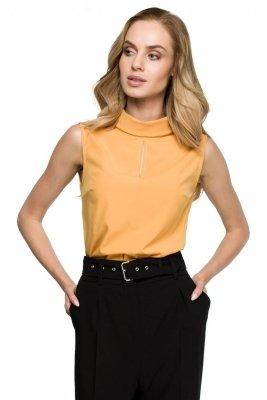 S123 Bluzka z wywijaną stójką - żółta