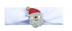 1 kIDS opaska na głowę biała z Mikołajem