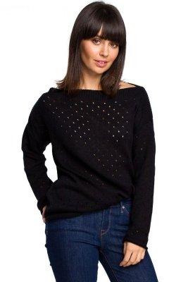 BK019 Sweter z oczkami - czarny