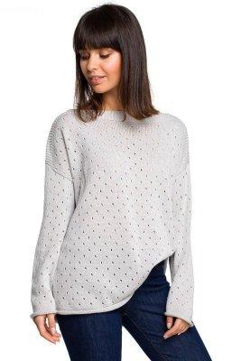 BK019 Sweter z oczkami - szary