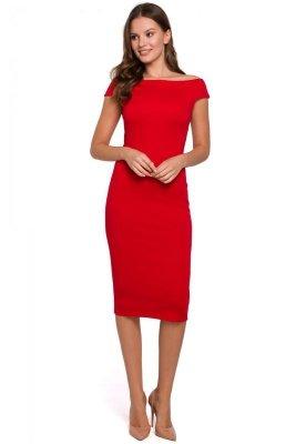 K001 Sukienka dzianinowa - czerwona