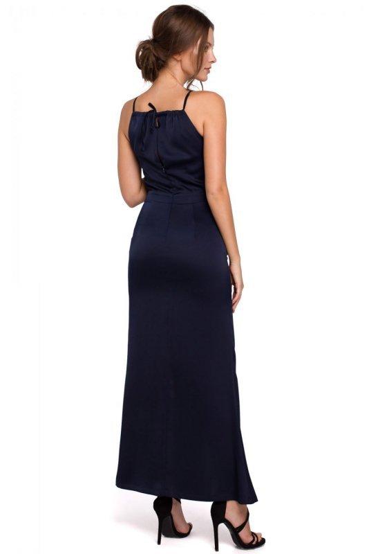 K042 Długa sukienka wiązana wokół szyi - granatowa