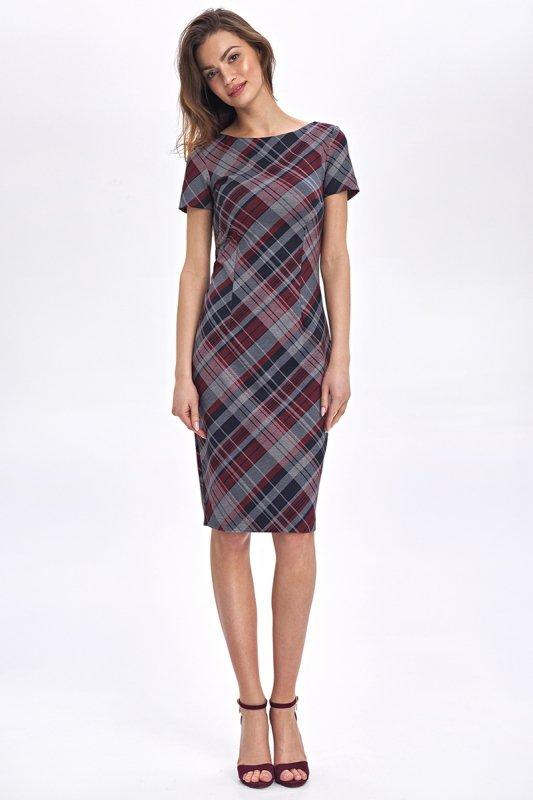 Dopasowana, ołówkowa sukienka - krata - CS48