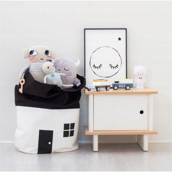 Pojemnik kosz na zabawki worek biały OR10B