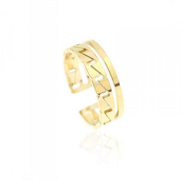Pierścionek stal chirurgiczna platerowana złotem PST602, Rozmiar pierścionków: US7 EU14