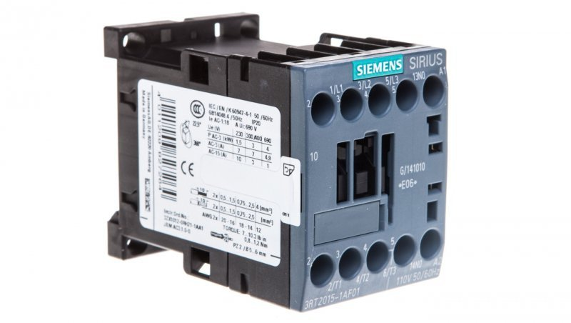 Stycznik mocy 7A 3P 110V AC 1Z 0R S00 3RT2015-1AF01