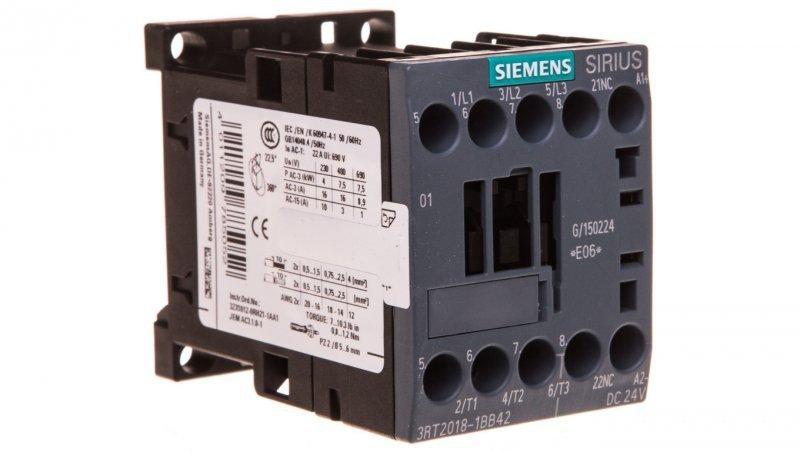 Stycznik mocy 16A 3P 24V DC 0Z 1R S00 3RT2018-1BB42