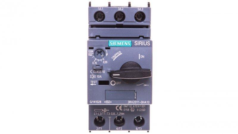 Wyłącznik silnikowy 3P 0,18kW 0,55-0,8A S00 3RV2011-0HA10