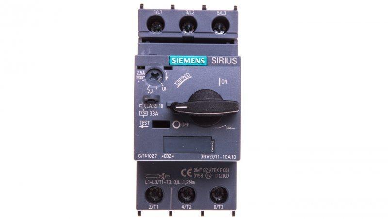 Wyłącznik silnikowy 3P 0,75kW 1,8-2,5A S00 3RV2011-1CA10