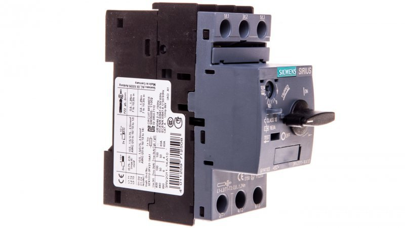 Wyłącznik silnikowy 3P 5,5kW 9-12,5A S00 3RV2011-1KA10