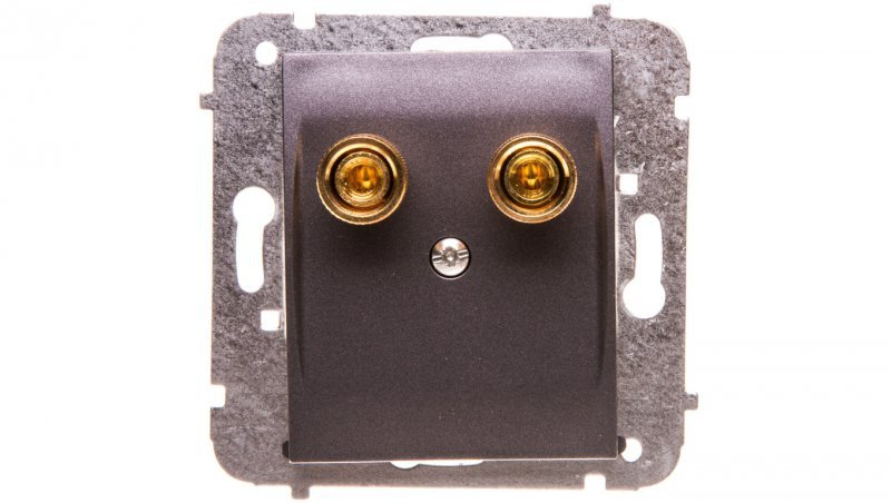 Catrin Gniazdo głośnikowe pojedyncze bez ramki grafit metalizowany 2157-18