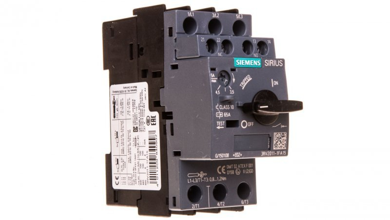 Wyłącznik silnikowy 3P 3,5-5A 1Z 1R S00 3RV2011-1FA15
