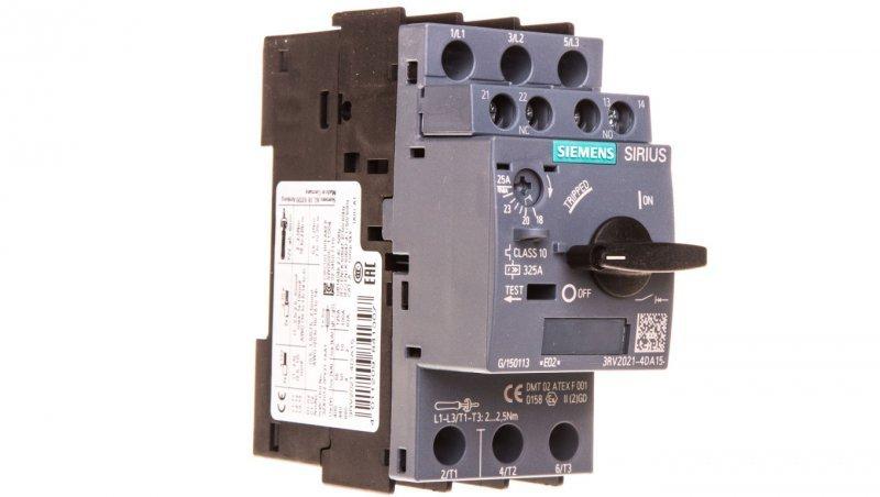 Wyłącznik silnikowy 3P 12,5kW 20-25A 1Z 1R S0 3RV2021-4DA15