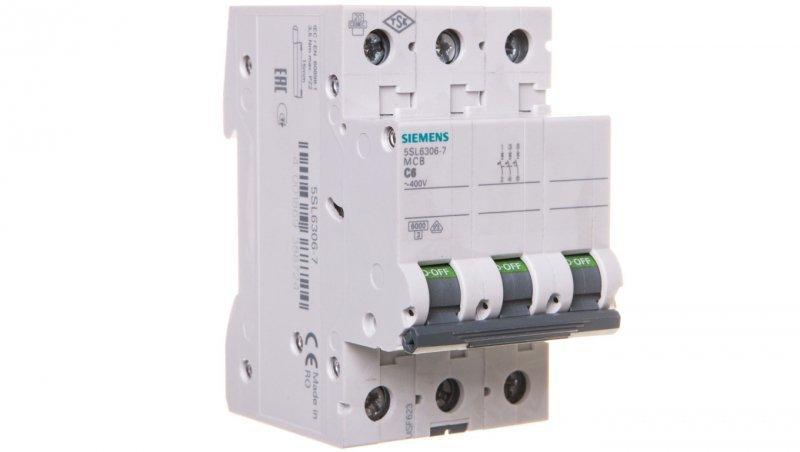 Wyłącznik nadprądowy 3P C 6A 6kA AC 5SL6306-7