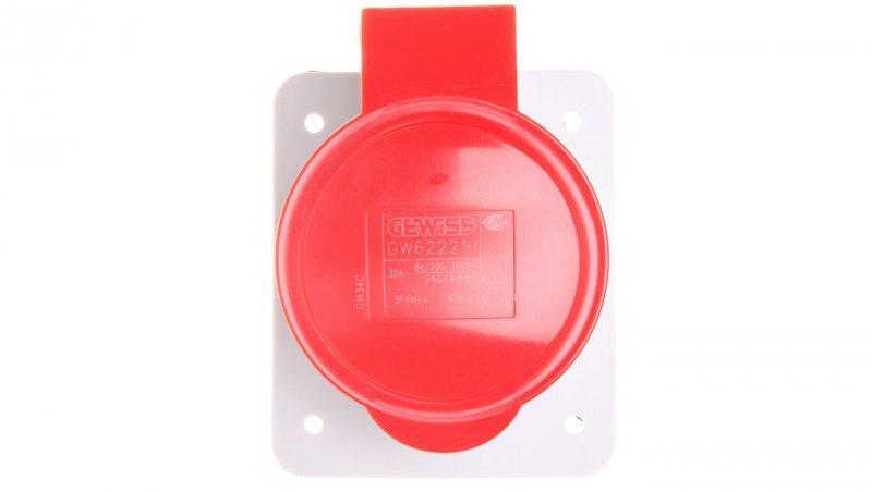 Gniazdo stałe 5P 32A 400V czerwone IP44 10° 6H IEC 309 HP GW62221H