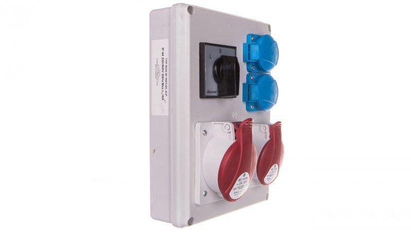 Rozdzielnica 1x16A 5P/ 1x32A 5P 2x230V TVM 21 IP44 wyłącznik L-0-P ROS-W1603.2/L-0-P