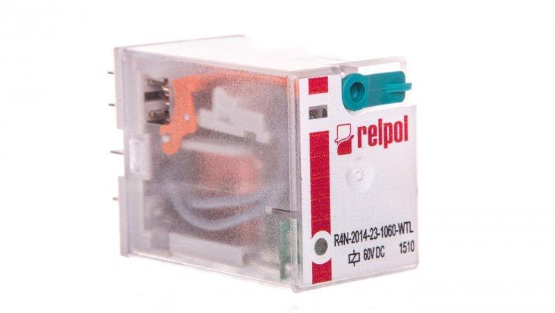 Przekaźnik przemysłowy 4P 60V DC AgNi R4N-2014-23-1060-WTL 860835