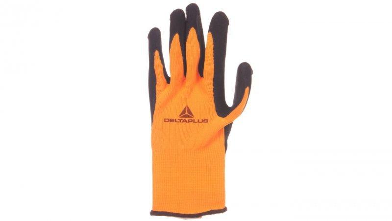 Rękawice dziane z poliestru fluorescencyjnego strona chwytna z pianki lateksowej czarno-pomarańczowe rozmiar 8 APOLLON VV733OR08