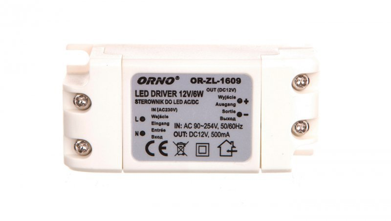 Zasilacz LED 12V DC 6W 0,5A IP20 OR-ZL-1609